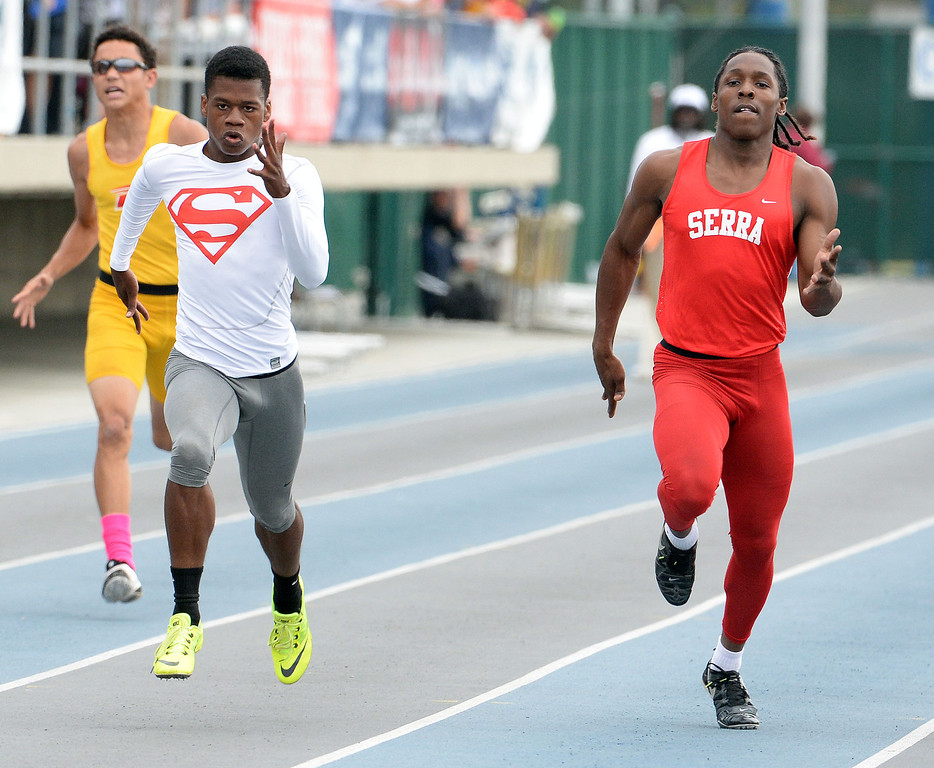 . Serra\'s Adoree Jackson, right, as Serra\'s Ronny Hall, left, wins the division 4 200 meter race during the CIF Southern Section track and final Championships at Cerritos College in Norwalk, Calif., Saturday, May 24, 2014.   (Keith Birmingham/Pasadena Star-News)