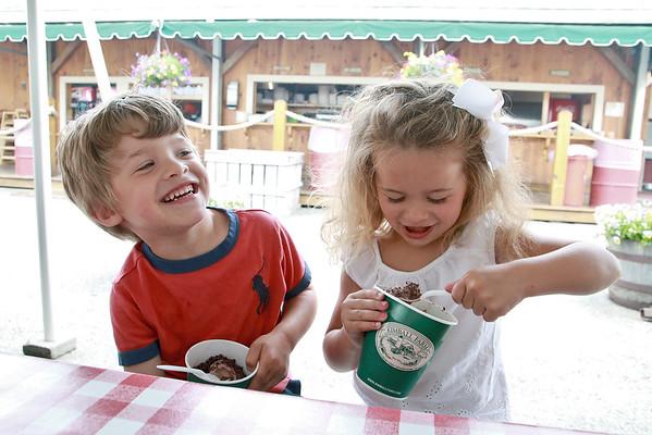 Having some ice-cream at Kimball's Farm