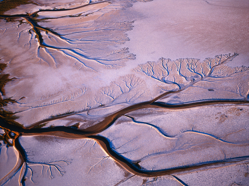 El Golfo Biosphere Reserve, MEX. /  Baja California, Mexico's Upper Gulf & Colorado Delta Biosphere Preserve with Delta's alluvial patterns in back lit with Colorado River in background. 104H1