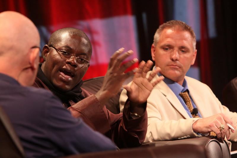 """HOTSPOTS I: Five Personal Views of the Future"": (L-R) Bright Simons, mPedigree Network, IMANI-Ghana; moderator Steve Evans, Business Daily presenter, BBC World Service; and Troy Cross, Vlingo"