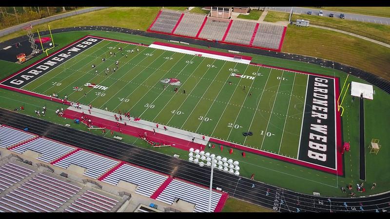 Football Practice Aerial Shot