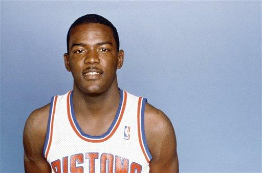 Description of . Detroit Pistons' Joe Dumars shown in 1987. (AP Photo)