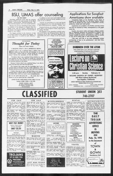 Daily Trojan, Vol. 61, No. 71, February 11, 1970