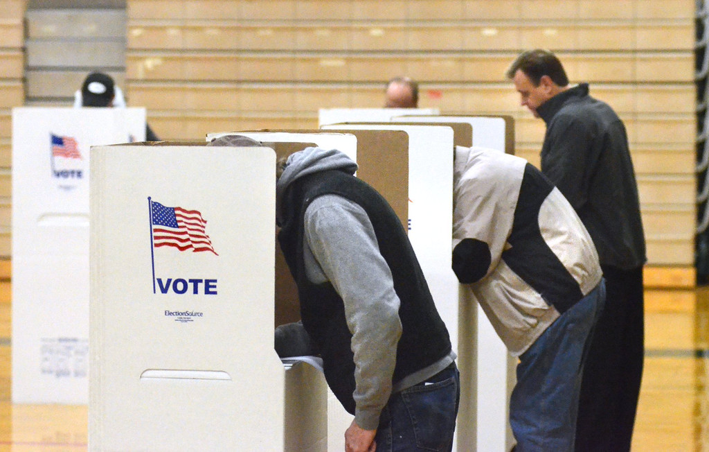 . Voting at Precinct 14 in Waterford Kettering High School.    Tuesday, November 4, 2014.  Tim Thompson-The Oakland Press