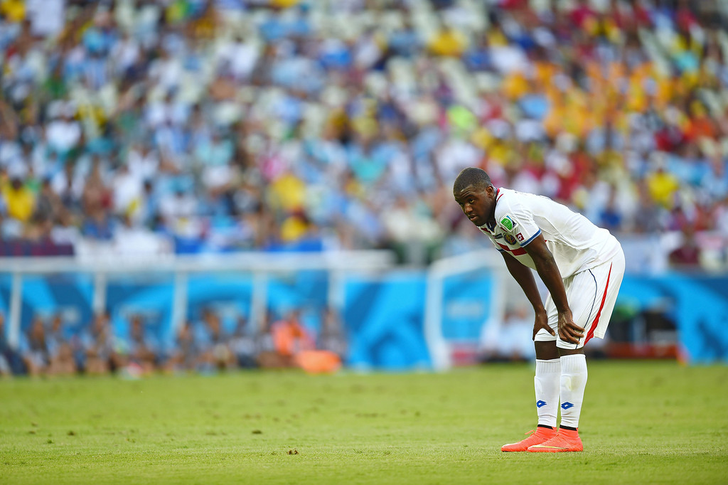 . Joel Campbell of Costa Rica looks on during the 2014 FIFA World Cup Brazil Group D match between Uruguay and Costa Rica at Castelao on June 14, 2014 in Fortaleza, Brazil.  (Photo by Jamie McDonald/Getty Images)