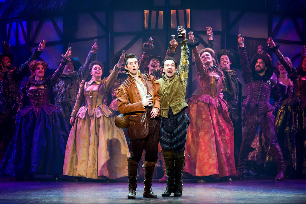 ". Josh Grisetti,front  left, as Nigel Bottom, and Rob McClure, front right, as  brother Nick Bottom, perform with the company of the touring production of ""Something Rotten.\"" The show runs April 25 through May 14. For more information, visit <a href=\""http://www.playhousesquare.org/events/detail/something-rotten\"">playhousesquare.org/events/detail/something-rotten</a>. (Courtesy of Playhouse Square)"