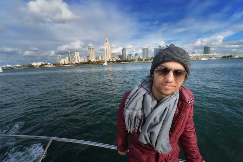Irish Giron on the boat in front of his hometown San Diego. Frankiefoto