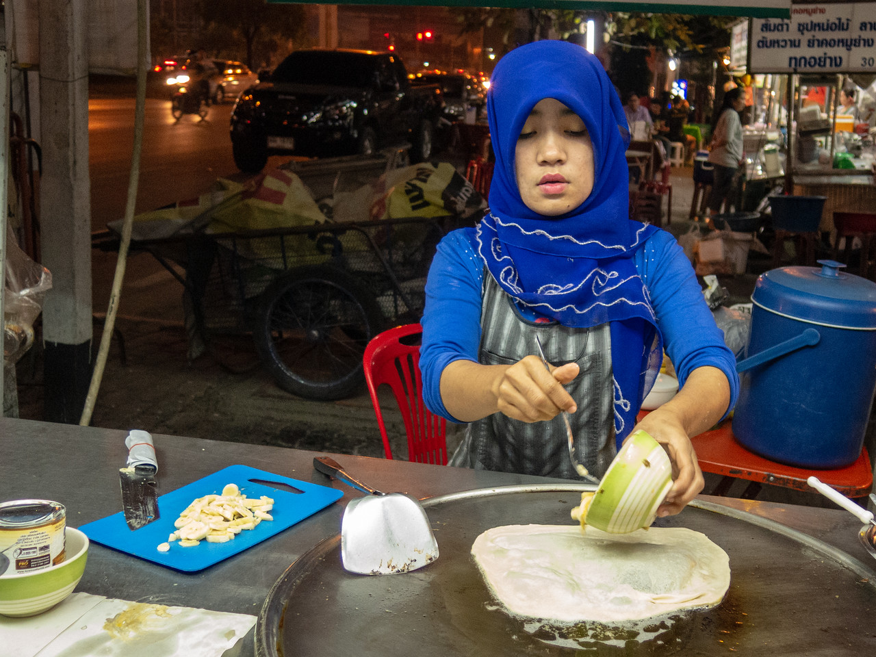 Banana Pancake Seller Making Roti in Chiang Mai, Thailand