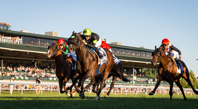 """Bowies Hero (#5, Artie Schiller) wins the Shadwell Turf Mile (G1) a """"Win and You're In""""  Breeders' Cup Mile Division at Keeneland on 10.05.2019. Flavien Prat up, Philip D'Amato trainer, Agave Racing, ERJ Racing and Madaket Stables owners."""