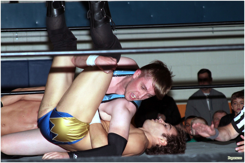 """Joshua Wells of Oreo Speedwagon vs. Ricky Archer during the UFO Wrestling """"Monsters Ball"""" show held on October 25, 2019 at the Tynan Community Center in South Boston, Massachusetts."""