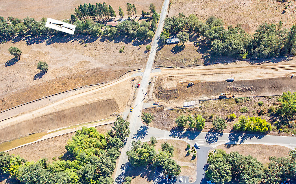 . East Hill Road crossing. Willits bypass construction overflight Sept. 5; Pilot Mike Smith; photographer Steve Eberhard/TWN