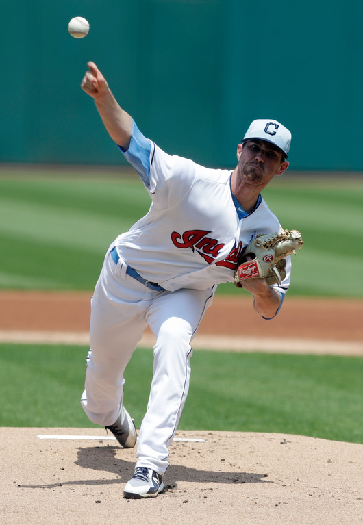 . Cleveland Indians starting pitcher Shane Bieber delivers in the first inning of a baseball game against the Minnesota Twins, Sunday, June 17, 2018, in Cleveland. (AP Photo/Tony Dejak)