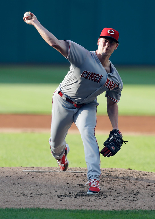 . Cincinnati Reds starting pitcher Anthony DeSclafani delivers in the first inning of a baseball game against the Cleveland Indians, Monday, July 9, 2018, in Cleveland. (AP Photo/Tony Dejak)