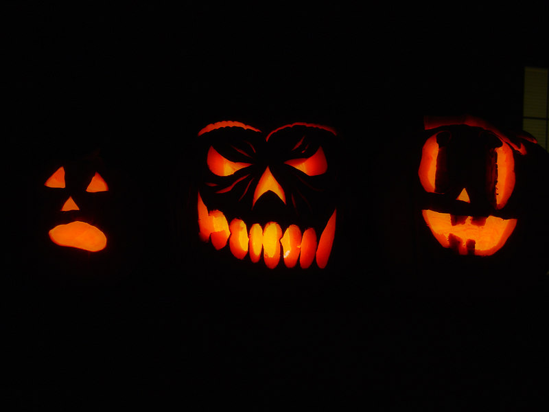Our pumpkins, Halloween 2005.