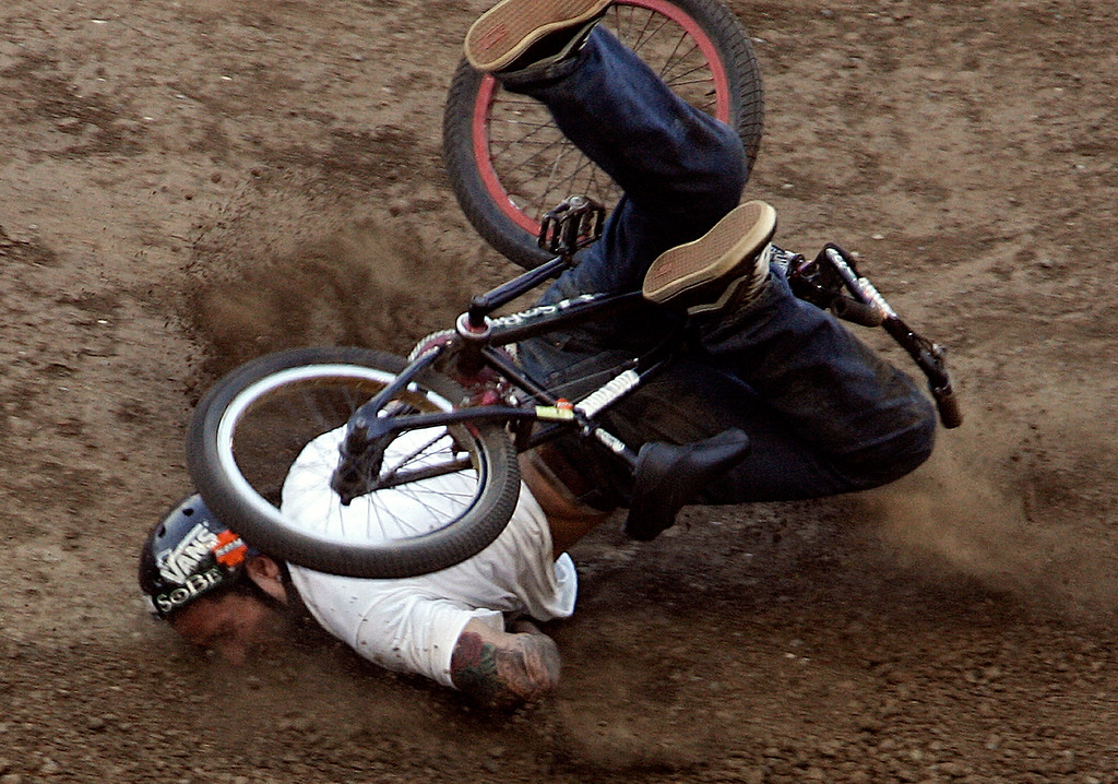 . Cory Nastazio of Riverside,Calif., crashes hard on his face during the first round of the BMX Freestyle Dirt Finals during the Eleventh X Games at the Home Depot Center in Carson ,Calif., August 6. 2005. 