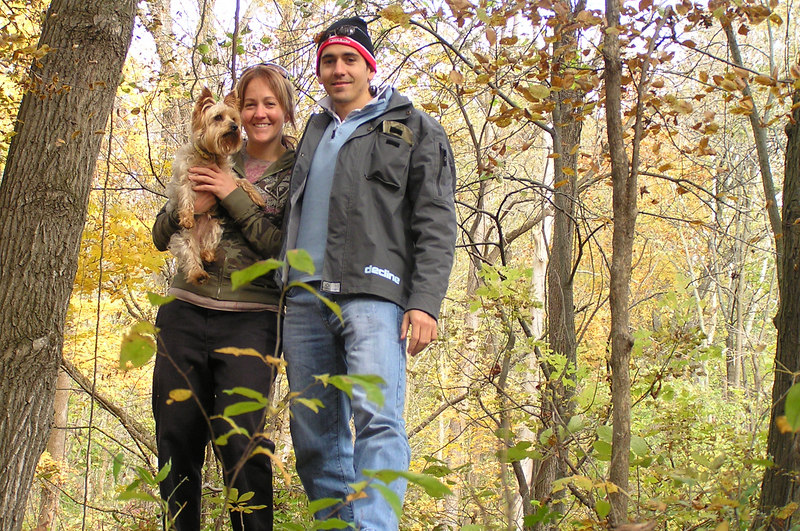 Mady (dog), Natarsha (left) my sister, and Trent (right).  These photos were taken at the moutain bike trails.
