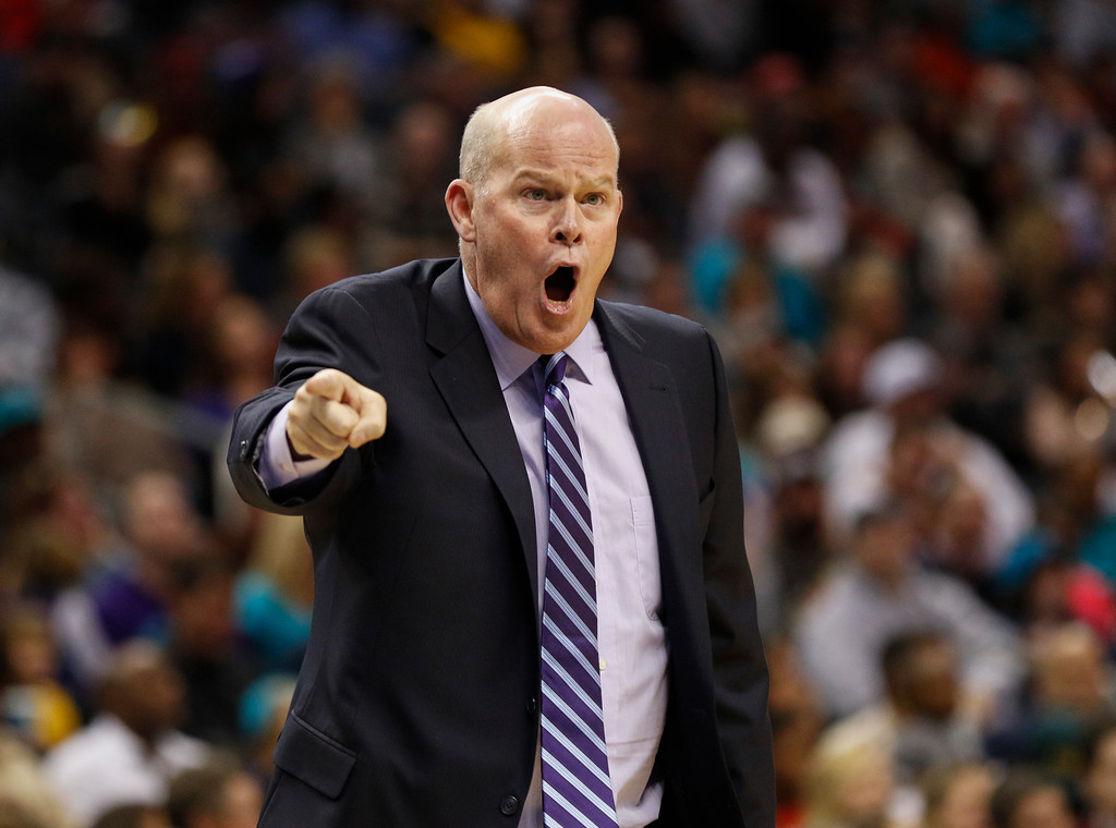 . Charlotte Hornets coach Steve Clifford yells at an official as the Hornets play the the Cleveland Cavaliers in the second half of an NBA basketball game in Charlotte, N.C., Saturday, Dec. 31, 2016. Clifford received a technical foul. Cleveland won 121-109. (AP Photo/Nell Redmond)