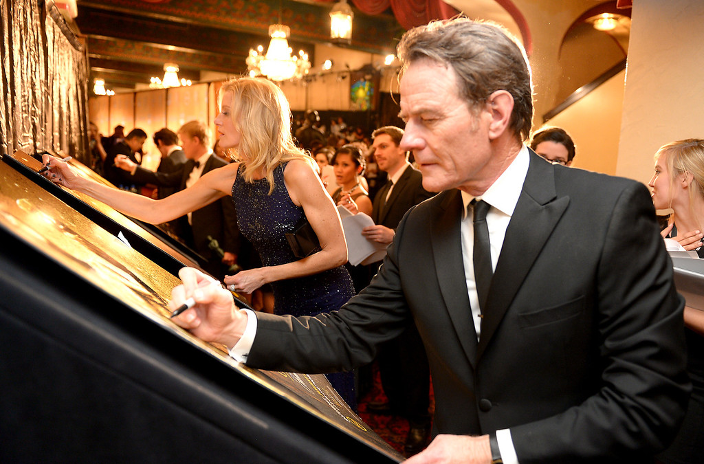 . Bryan Cranston backstage at the 20th Annual Screen Actors Guild Awards  at the Shrine Auditorium in Los Angeles, California on Saturday January 18, 2014 (Photo by Michael Owen Baker / Los Angeles Daily News)