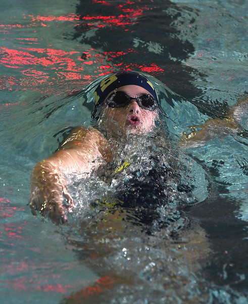 9/19/2017 Mike Orazzi | Staff Newington's Amber Rocheleau during Tuesday's swim meet with Bristol Central in Bristol.