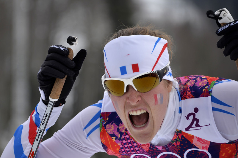 . France\'s Marion Buillet competes in the Women\'s Cross-Country Skiing Individual Sprint Free Qualification at the Laura Cross-Country Ski and Biathlon Center during the Sochi Winter Olympics on February 11, 2014 in Rosa Khutor near Sochi. (ODD ANDERSEN/AFP/Getty Images)