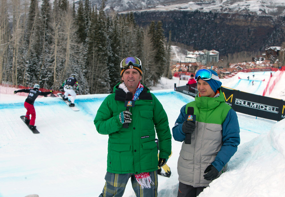 """. In this image provided by Nathan Bilow Photography, \""""Uncle Eddie,\"""" left, and Olympian Graham Watanabe host NBC television coverage at the snowboard cross team World Cup event in Telluride, Colo., Saturday, Dec. 15, 2012. (AP Photo/Nathan Bilow)"""