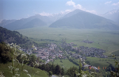 Not sure the name of this good sized village, nestled by the mountains this side of the valley.