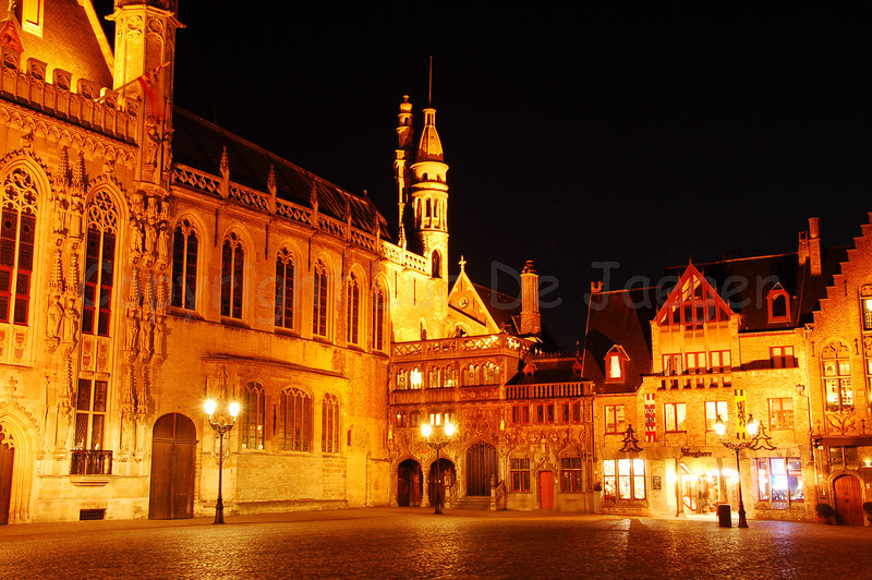 The 'Burg' square, the heart of the administrative Bruges (Brugge), Belgium. In the middle of the image is the entrance to the Holy Blood chapel, also known as 'De Steeghere'. To the left is part of the gothic town hall from 1376.