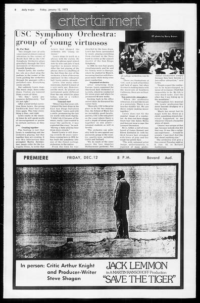 Daily Trojan, Vol. 65, No. 65, January 12, 1973