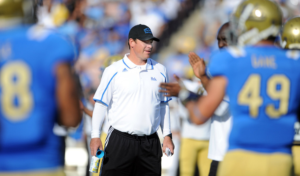 . UCLA head coach Jim Mora during the football spring showcase college football game in the Rose Bowl on Saturday, April 27, 2013 in Pasadena, Calif.    (Keith Birmingham Pasadena Star-News)