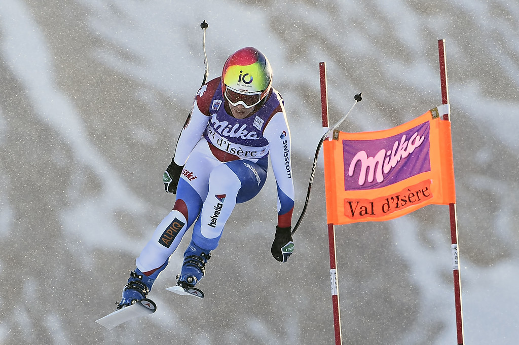 . Dominique Gisin of Switzerland competes during the Audi FIS Alpine Ski World Cup Women\'s Downhill on December 20, 2014 in Val d\'Isere, France. (Photo by Alain Grosclaude/Agence Zoom/Getty Images)