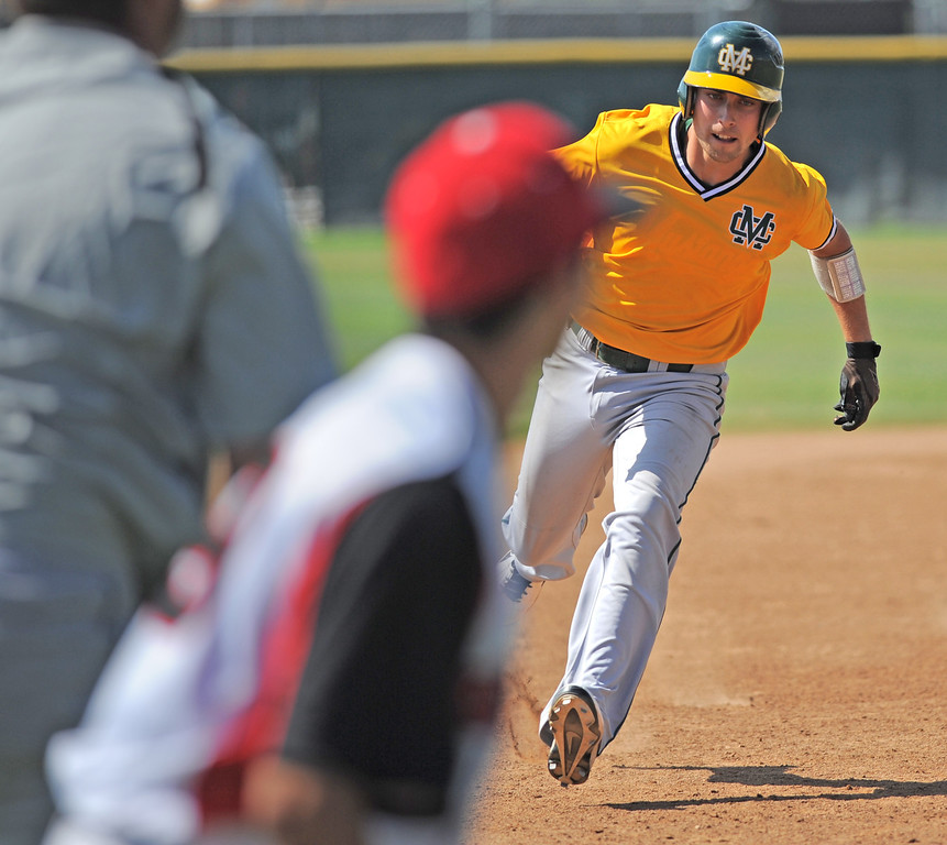. 05-28-2013-( Sean Hiller/LANG) Mira Costa beat Elsinore 5-3 in Tuesday\'s CIF Southern Section Division III semifinal at Elsinore High School. Costa\'s Grant Livornese making it safely to third on a triple that brought home Braden Casady.