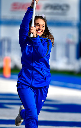 11/17/2018 Mike Orazzi | Staff CCSU cheerleaders at Arute Field in New Britain Saturday afternoon for football with Duquesne.