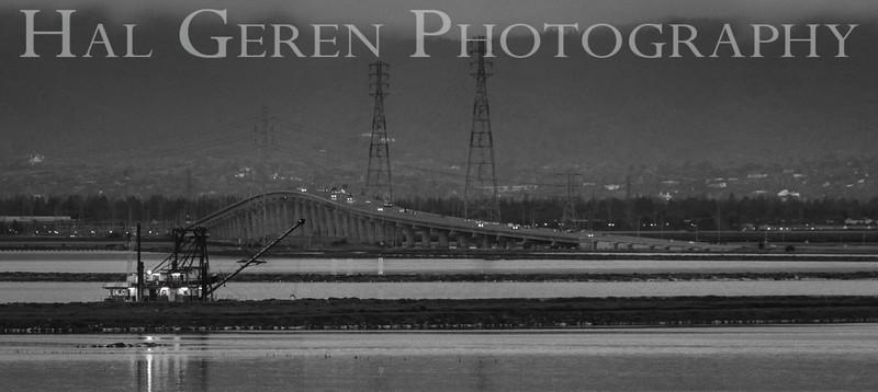 Dumbarton Bridge and Dredger Don Edwards National Wildlife Refuge, Fremont, California 1407R-DBAD3BW1