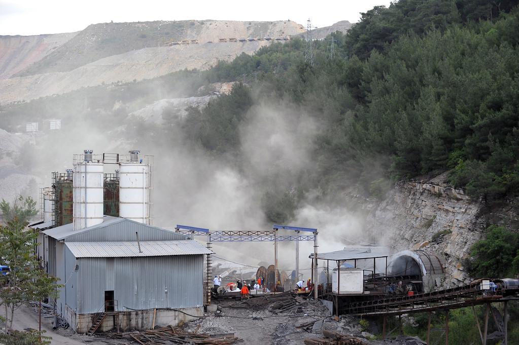 . The main entrance of the coal mine in Soma, Turkey, Wednesday, May 14, 2014.   (AP Photo/Depo Photos)