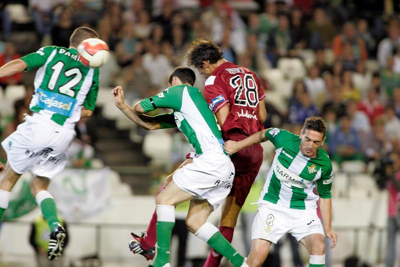 Fazio (Sevilla) scoring a goal with the head. Local derby between Real Betis and Sevilla FC, Ruiz de Lopera stadium, Seville, Spain, 11 May 2008.