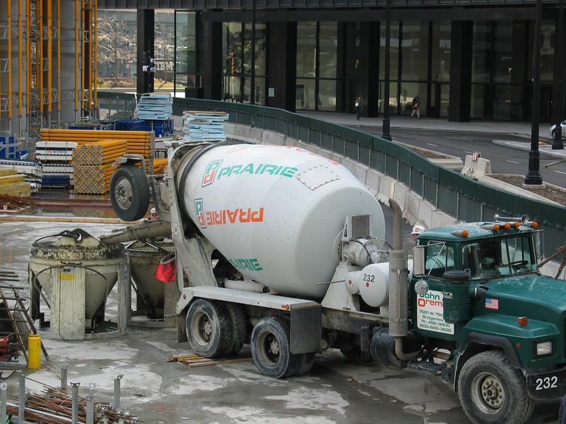 Prairie cement truck delivering concrete