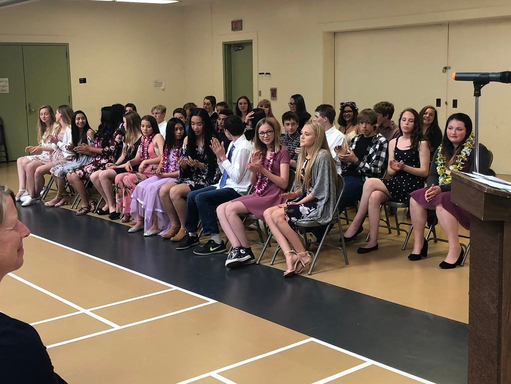 . The Mendocino K-8 school\'s graduating Class of 2018.