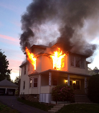 Photo by Ray Kovaleski  Town of Plymouth Fire Marshal Ray Kovaleski's photo of house fire at on Main Street Friday.