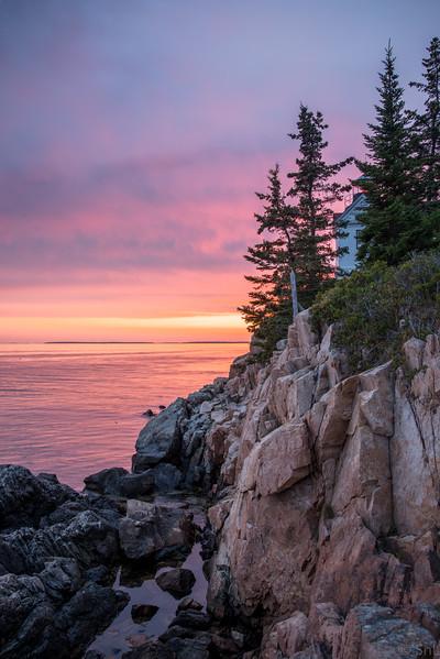 Bass Harbor Head Lighthouse at sunset