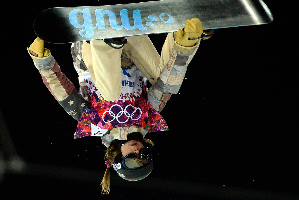 . American Hannah Teter makes a grab during a women\'s snowboard halfpipe final at the Rosa Khutor Extreme Park. Sochi 2014 Winter Olympics on Wednesday, February 12, 2014. (Photo by AAron Ontiveroz/The Denver Post)
