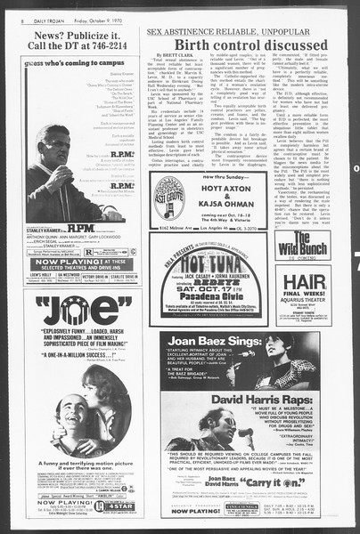 Daily Trojan, Vol. 62, No. 14, October 09, 1970
