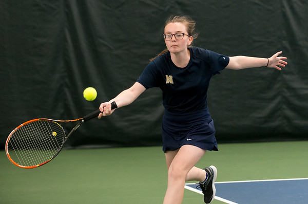 04/26/19 Wesley Bunnell | Staff Newington girls tennis vs Maloney on Friday afternoon at the Newington Tennis Center. Julia Mazur plays in the #1 doubles.
