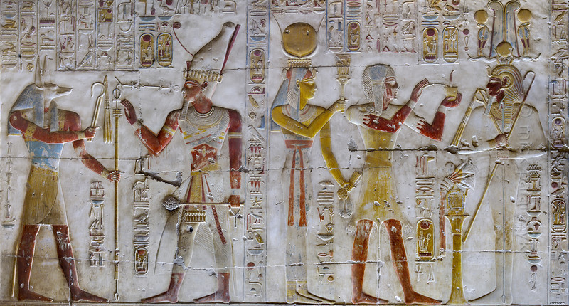 [Egypt 29930] 'West wall of Seti Shrine at Abydos'.