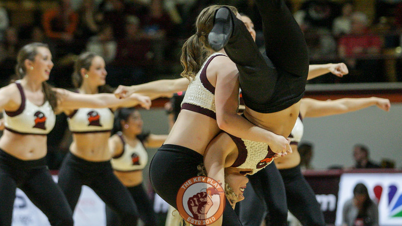 The Virginia Tech High Techs perform a routine for the crowd during a media timeout. (Mark Umansky/TheKeyPlay.com)