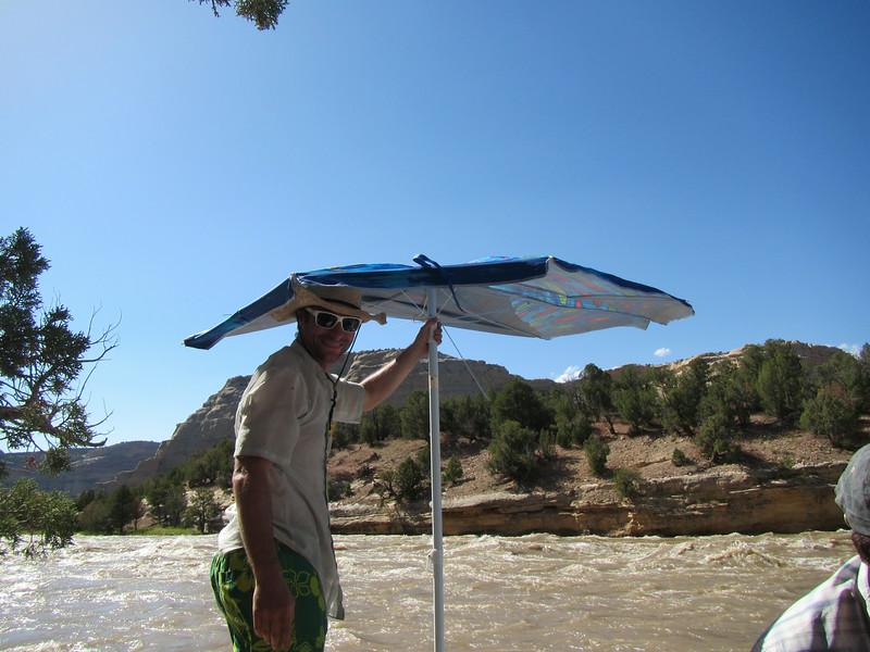 Eric fixing his Umbrella
