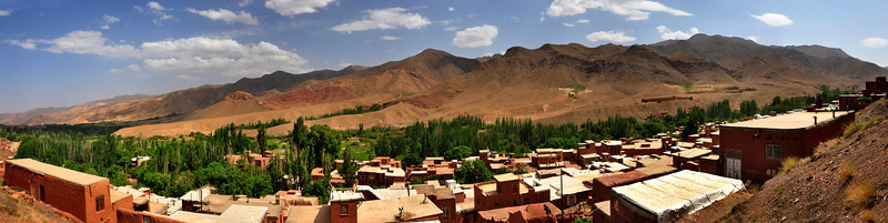 Panoramic View of Abyaneh Village with a view of Karkas Mountains in Background.