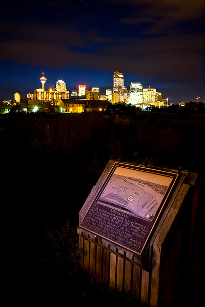 View of the city from the Fort Calgary sign