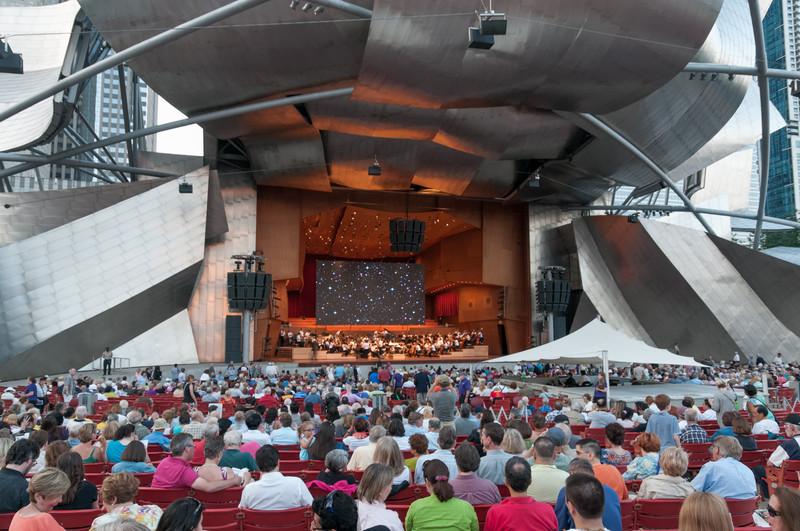 Umsonst und draussen: Dieses Freiluftkonzert in Chicago fand vor einer tollen Kulisse statt.