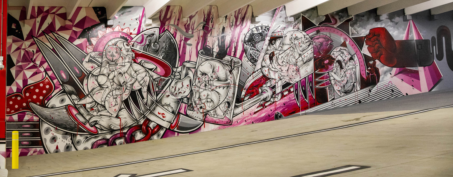 """. The right side of one of the murals inside \""""The Z\"""" parking garage, which is now open to the public."""