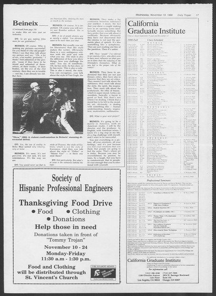 Daily Trojan, Vol. 102, No. 56, November 19, 1986